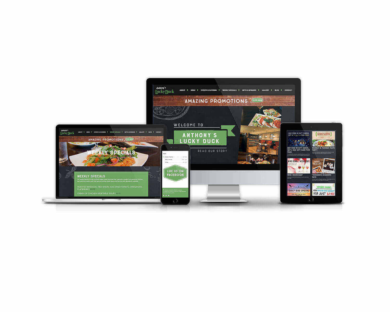Anthony's Lucky Duck Responsive Web Design Mock-Up