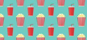Popcorn and soda icon background