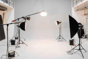 Photo-shoot setup with lights