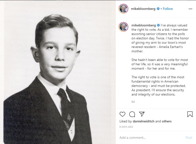 social media and political campaigns: Mike Bloomberg on Instagram