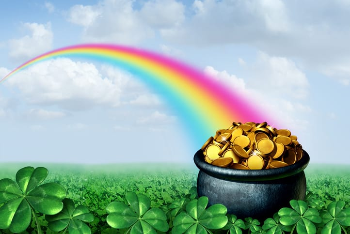 St. Patrick's Day ads often include rainbows and pots of gold.