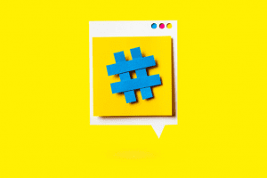 Hashtag on a webpage against a yellow background