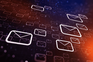 Email icons spread out in space