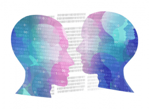 Tech figures facing each other with data sets behind them