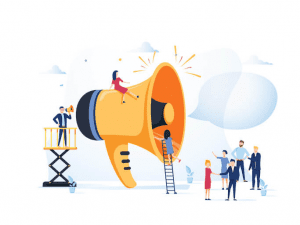 Large megaphone with small figures