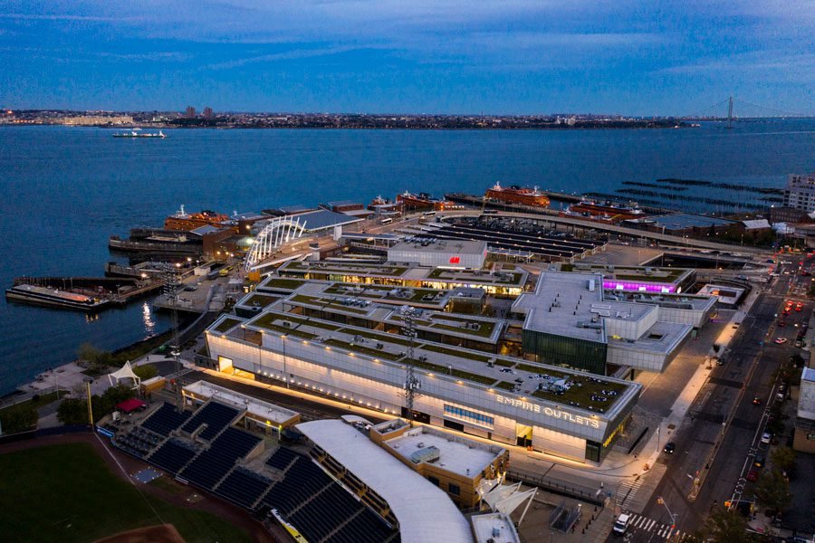 Empire Outlets is located near the waterfront