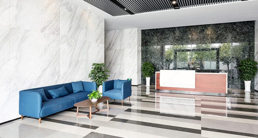 commercial cleaning services for a business building's lobby