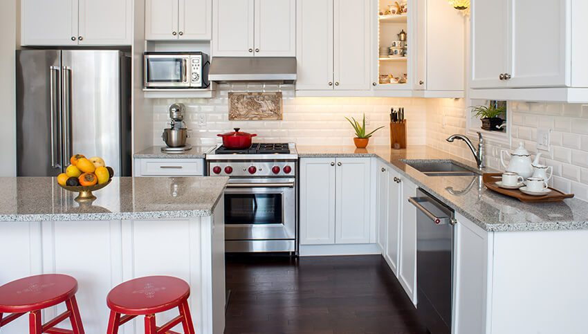 A kitchen that was cleaned during move-out cleaning services.