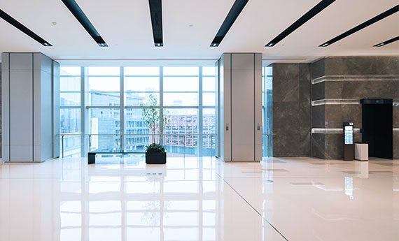 An office building looks beautiful after floor cleaning services.