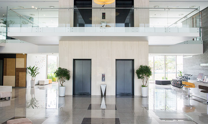 A lobby that has received e-spray disinfecting and sanitizing services.