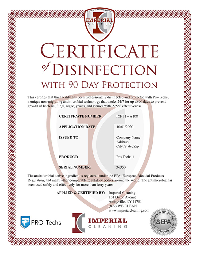 Imperial Shield | Certificate of Disinfection
